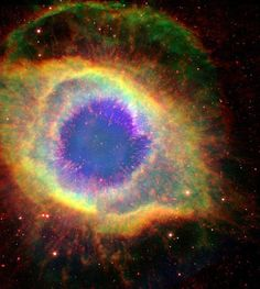 The Eye of God: Six hundred and fifty light-years away in the constellation Aquarius, a dead star about the size of Earth, is refusing to fade away peacefully. NASA's Hubble and Spitzer Space Telescopes have captured the complex structure of the Helix nebula. Credit: NASA/JPL-Caltech/ESA