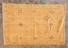 Sunrise Gold Vintage Moroccan Silk Kilm from BD Vintage