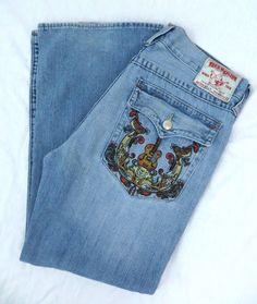 True Religion Jeans Billy Classic Straight 40x33 Light Blue Embroidered Guitar #TrueReligion #ClassicStraightLeg