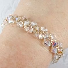 Bridal Bracelet Swarovski Crystal Champagne by PixieDustFineries, $51.00