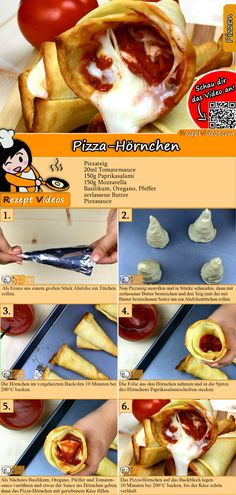 Pizza croissant recipe with video - make pizza yourself / quick recipes - PIZZA Rezepte mit Videos, mit Rezeptkarten - HotDog Croissants Recipe Video, Pizza Croissant, Pizza Cones, Creative Pizza, National Pizza, Pizza Day, Hungarian Recipes, Snacks Für Party, Thanksgiving Appetizers