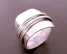 Destiny Wrapped Wide Band Sterling Silver Ring Wrapped Wire Ring Woven Ring Handcrafted Ring