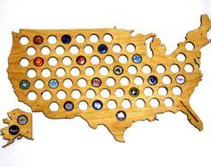 USA 50 States Beer Cap Map LASER ENGRAVED Beer by DiamondWoodcomua