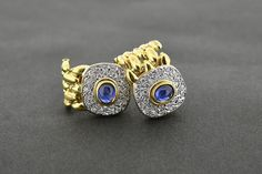 Cabochon sapphire and diamond earrings set in yellow gold Sapphire And Diamond Earrings, Diamond Gemstone, Earring Set, Cufflinks, Engagement Rings, Gemstones, Yellow, Gold, Accessories