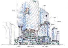Drawing Architectural retail planning, mixed-use project, facade, randy carizo Conceptual Architecture, Architecture Concept Drawings, New Architecture, Architecture Visualization, Futuristic Architecture, Mix Use Building, Tower Building, High Rise Building, Building Structure