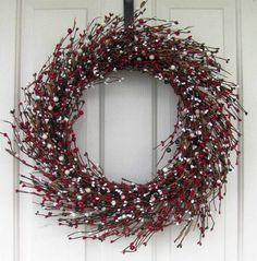 Holiday Wreath - Christmas Wreath - Home Decor - Red Berry - Pip Berry Wreaths - Rustic Winter Wreath - Christmas Gift - Valentine Wreaths by Designawreath on Etsy