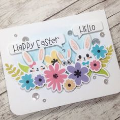 Easter card featuring stamps and dies from @lilinkerdesigns