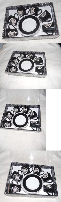 Cups and Saucers 36029: Nib Demitasse Espresso Turkish Coffee Cup And Saucer Set, 12-Pc, Black And White -> BUY IT NOW ONLY: $50 on eBay!