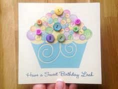 Personalised Button cupcake birthday card with hand stamped envelope www.etsy.com/uk/listing/255049746/cupcake-birthday-card-mum-birthday-thank #promotingwomen