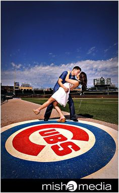 Engagement session at cubs stadium
