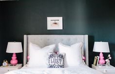 grey tufted bed, Wayfair.com. Robert Abbey pink gourd lamp. Alaina Kaczmarski's stylish Chicago apartment! Want the tufted bed
