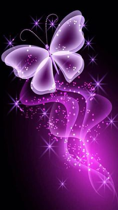 Sparkling Purple Butterfly iPhone 5 Wallpaper