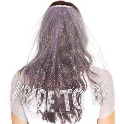 Rhinestone Gem Bride To Be Sparkle Tulle Veil - Double Layer,  Bachelorette Party Veil, White Bachelorette Veil