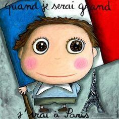 """Tableau d'Isabelle Kessedjian """"Quand je serai grand, j'irai à Paris"""" - Le Coin des Créateurs"""