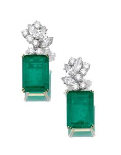 Pair of emerald and diamond ear clips. Photo Sotheby's