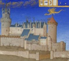 The fairy Melusine in her dragon shape returning nightly to the castle of Lusignan to feed her children. Illustration in the Très Riches Heures du Duc de Berry, a stunning book of Hours.