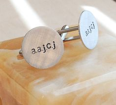 Hand Stamped Cufflinks  Custom Cufflinks  by BlueCornerCreasigns