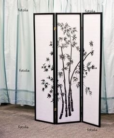 SilverA folding dressing screen with asian design in front of curtain © dbvirago Decor, Dressing, Amber Room, Asian Design, Curtains, Screen Headboard, Screen, Boho House, Dressing Screen