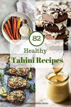 This collection of 82 unique, delicious and healthy recipes with tahini will surely give you some inspiration to make the most out of your tahini jar. Lemon Tahini Sauce, Tahini Recipe, Lemon Tahini Dressing, Healthy Dessert Recipes, Healthy Baking, Vegetarian Recipes, Tofu Recipes, Recipes With Tahini, Healthy Food