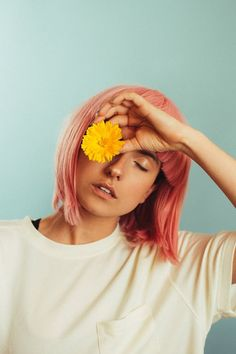 Megan Baker // photography // portrait // girl // spring // pink hair // yellow flower