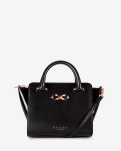 Mini patent leather tote bag - Black | Bags | Ted Baker UK