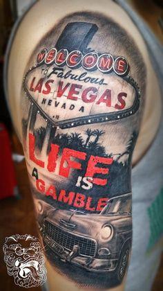 Life is a Gamble half sleeve trash polka style master tattoo - Malan Tattoo Dublin, Michal Malanowski