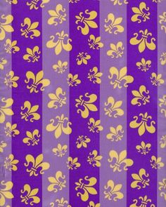 """Light weight purple and gold Fleur de Lis scarf with satin feel. 13"""" x 60"""" 100%…"""