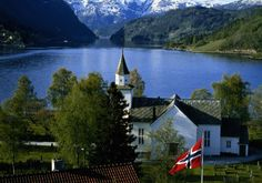 Beautiful church on a fjord, Norway