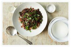 lunch bowl // french lentil, wilted spinach, and herb-y vinaigrette over brown rice + quinoa