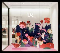 Illustration campaign for fashion brand Urban Revivo on Behance Fashion Window Display, Window Display Design, Shop Window Displays, Magic Room, Vitrine Design, Decoration Vitrine, Store Windows, Design Graphique, Retail Design