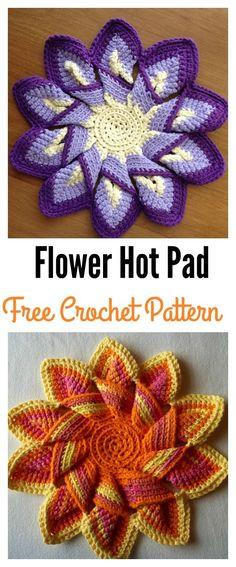Flower Hot Pad Free Crochet Pattern