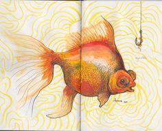 #moleskine #sketchbook - Goldfish: contributed by Anneris Kondratas
