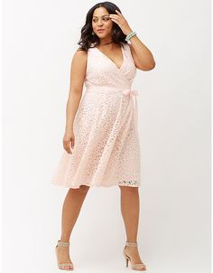 Lane Bryant Lace V-Neck Fit & Flare Dress With Bow in Ballet Pink, $90 Retail Price ($54 On Sale) via LaneBryant.Com