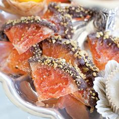 Candied Pink-Grapefruit Wedges Grapefruit is nutritious and now, a delicious dessert.