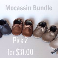 PICK 2  BUNDLE DEAL  Baby Toddler Moccasins  by PDPStudio on Etsy