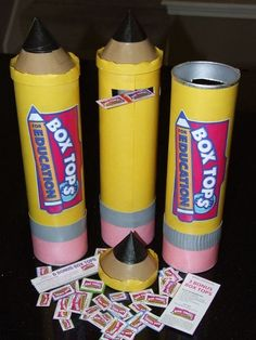 Saw this idea of making giant pencils out of pringles cans. Took it one step further and turned them into Box Tops collection bins. I will use them for decorations at Back to School night and Class Assignment Day. Then maybe some lucky students will win o Beginning Of The School Year, First Day Of School, School Days, Box Tops, Future Classroom, School Classroom, Classroom Ideas, Classroom Inspiration, Pto Today