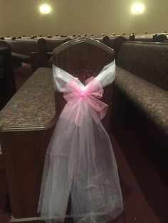 7-White-6-Pink-Tulle-Wedding-Church-Pew-Aisle-Bows-Decor-Handmade-Set-of-13