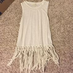 Adorable fringed tank top This cream tank top was purchased from Pacsun and has never been worn! PacSun Tops Tank Tops