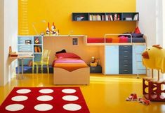 125 großartige Ideen zur Kinderzimmergestaltung - gelbes zimmer punktförmiger teppich bett dekoideen