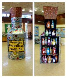 george's marvellous medicine display - Google Search Classroom Display Boards, Classroom Organisation, Classroom Displays, Roald Dalh, Georges Marvellous Medicine, Roald Dahl Day, Class Displays, 5th Class, Elementary Library