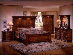 Tuscan Style Bed with High Headboard Rustic Bedroom Furniture ...