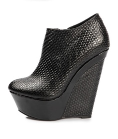 Amiya - Two color tone high wedge bootie / Black Leather - $156.00 : Design your own shoes with the most possibilities, CHIKO Shoes online store