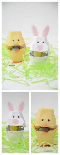 Easter Ideas| Save up your old egg cartons and transform them into some cute little Easter Animals…like this Easter Bunny and Easter Chick.