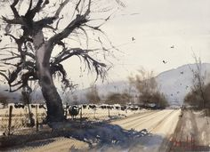 Dan Marshall Watercolor Cold cottonwood shadows
