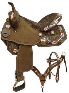 Patriotic barrel saddle set features a light chocolate leather with basket weave tooling and red, white and blue painted feather design! Saddle is equipped with front D rings, leather latigo and off b Barrel Racing Saddles, Barrel Saddle, Horse Saddles, Saddle Rack, Barrel Horse, Western Horse Tack, Western Riding, Horse Riding, Western Saddles