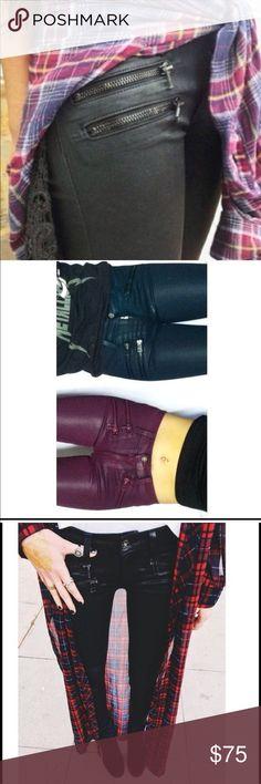 NWT LF Black Waxed Zipper Jeans MWT LF Carmar Black waxed jeans with zippers.. Super skinny jeans. Run small so will fit a size:24/25. Lower offsite. LF Jeans Skinny