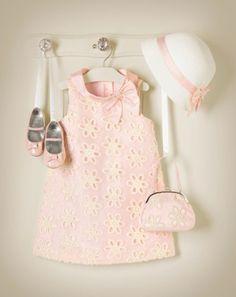Janie and Jack Outfit - Pink dress with shoes, purse and sun hat --- B