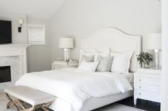 White Bedroom with Fireplace - Transitional - Bedroom White Fireplace, Bedroom Fireplace, Grey And White Bedding, Wood Canopy Bed, Green Duvet Covers, How To Dress A Bed, Transitional Bedroom, White Bedroom, Master Bedroom