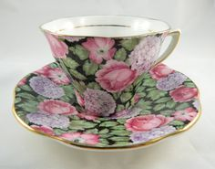 Rosina Tapestry Chintz China Cup Saucer Pink Roses Purple Hydrangea