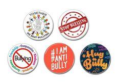 Anti Bullying buttons badges set of 5 (1inch, 25mm)   #antibully #stopbullying #hugabully #buttons #pinbacks #badges #befriend